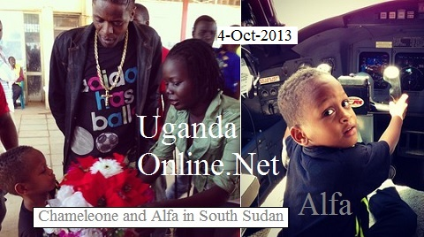 Chameleone and Alfa on arrival in South Sudan