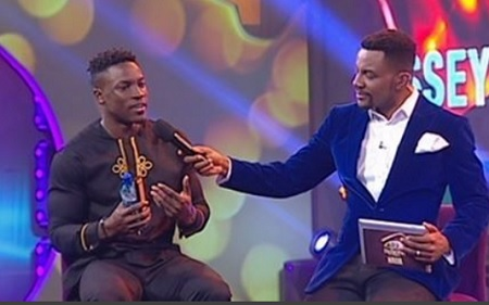 Bassey talking to Ebuka shortly after eviction