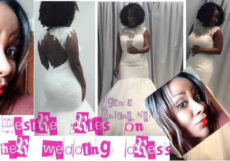 Desire Luzinda trying on her wedding dress