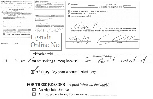 Christopher's form applying for an absolute divorce
