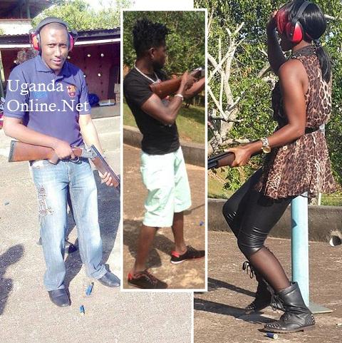 Roger Mugisha, Bobi Wne and Barbie try out their shooting skills