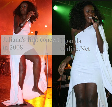 Juliana Kanyomozi during her first concert in the year 2008
