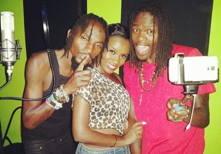 Moze Radio, Juliana and Weasel at Jeeb studio while working on their Woman song