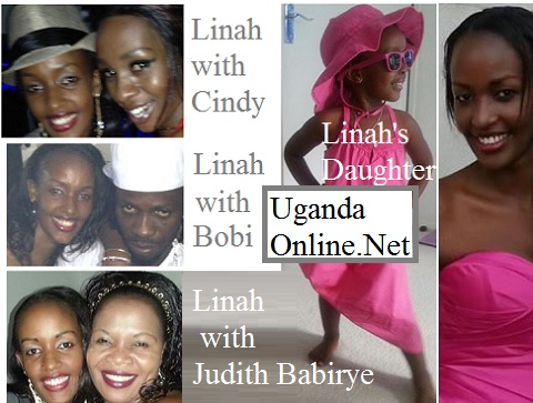 Linah with different Ugandan artistes and inset is her daughter