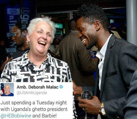 Amb. Deborah Malac and Bobi Wine having a happy moment together
