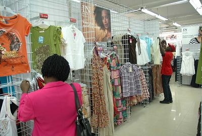 A customer at Mr.Price in Kampala (The Oasis Complex)