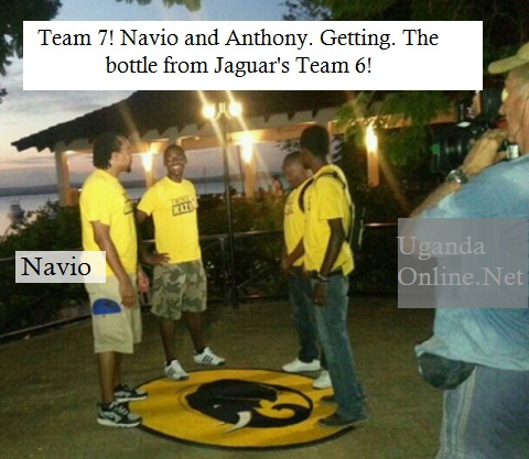 Navio and Anthony getting the Tusker bottle from Jaguar