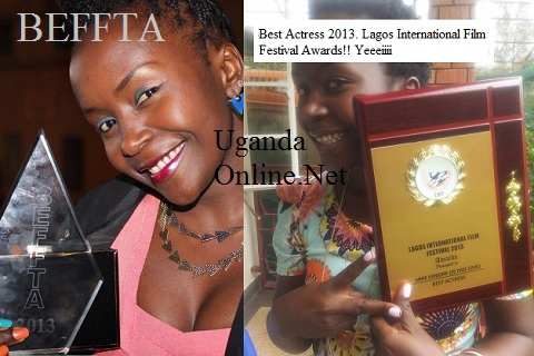 Comedian Anne Kansiime with her two awards