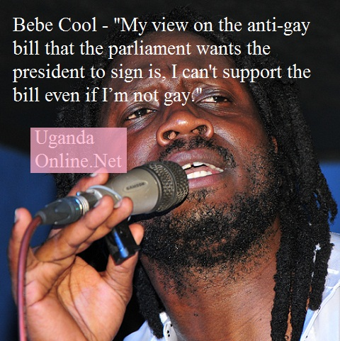 Ican't support the bill even if I'm not gay - Bebe Cool