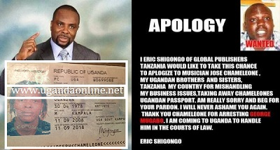 Eric Shigongo issues apology to Chameleone over the passport saga