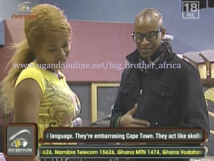 Nigeria's Goldie and Kenya's Prezzo playing the game from the Upville house