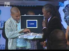 Ricco and KB looking at the USD 100,000 Prize money
