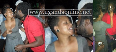 Bebe Cool kissinhg Zuena on his birthday at Assylum Bar