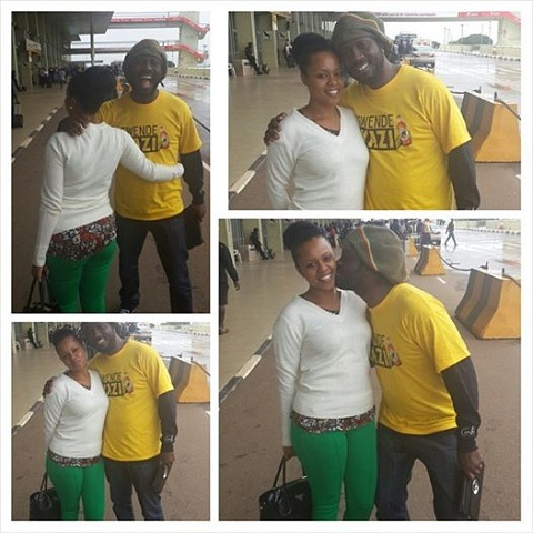 Zuena seeing off Bebe Cool at Entebbe Airport