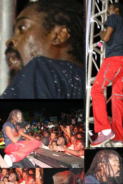 Beenie Man Falls off Stage