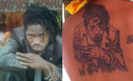 Bobi's photo in compared to the tattoo