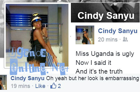 Cindy's post on Miss Uganda