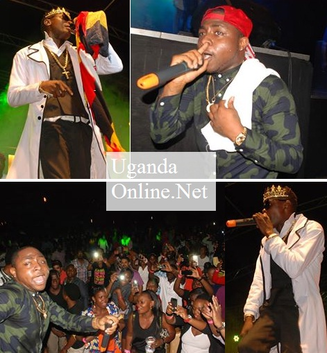 Chameleone and Davido performing at Kyadondo Rugby Grounds