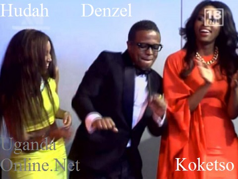 Huddah Monroe and Koketso look on as Denzel dances the night away