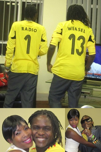 Moze Radio and Weasel after performing at the Big Brother Africa live eviction show