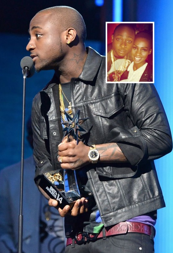 Davido receiving his BET Award and inset is Cindy with Davido in Rwanda
