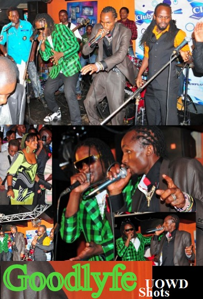 Sizzaman and KS Alpha look on as the Goodlyfe perform