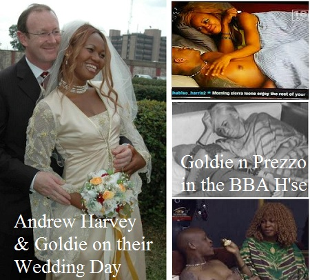 The late Goldie and her husband Andrew and inset is Prezzo and Goldie in the Big Brother House last year