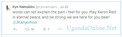 Iryn Namubieru's tweet after Keron had passed on