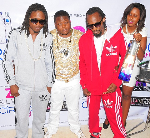 Ivan looks knocked by ciroc as he poses for a pic with the Goodlyfe Duo