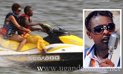 Jose Chameleone and Daniella enjoying the jet ski ride in Entebbe