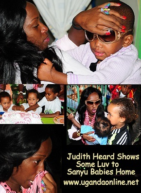 Judith Heard showing some luv to Sanyu Babies Home