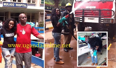 Juliana Kanyomozi at Mulago Hospital during the cleaning exercise