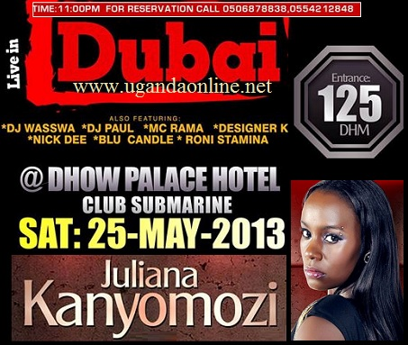 Juliana to perform at Dhow  Palace Hotel, Club Submarine