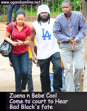 Zuena and Bebe Cool arriving at the Anti Corruption Court where Bad Black  was being held