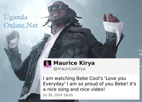 Bebe Cool doing Love U Everyday and inset is Maurice Kirya's tweet to BEBE