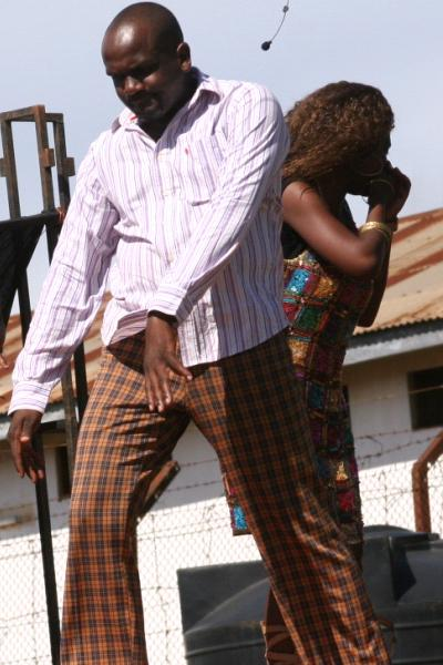 Luswata of Theatre Factory entertaining Luzira inmates on Good Friday