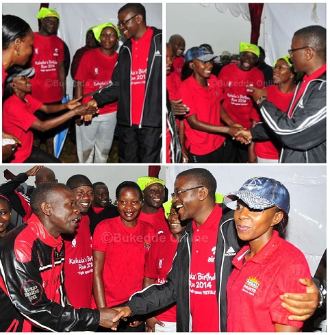 Buganda Premier Charles Peter Mayiga with some of the atheletes