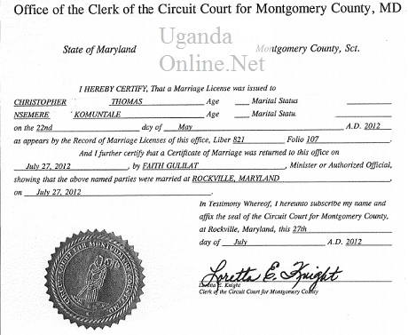 A marriage licence for Chris and Ruth were married at Rockville, Maryland
