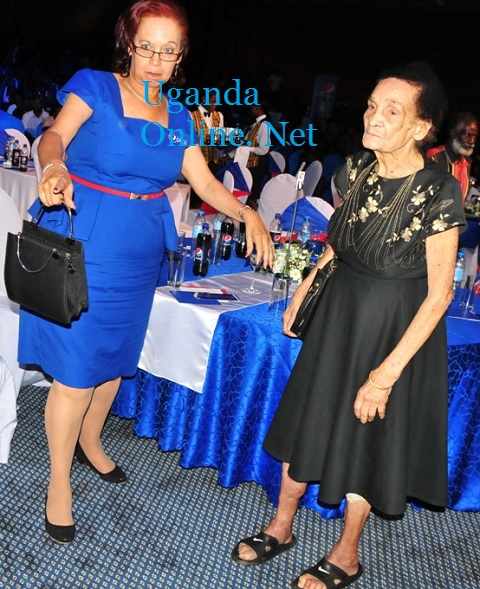 Former UIA Boss, Maggie Kigozi in blue and mother Molly Blick (RIP)