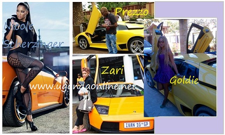 Nicole, Prezzo, Zari and Goldie posing next to a lambo.