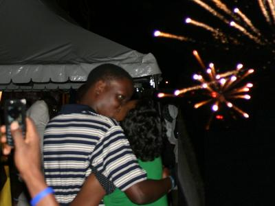 Couple Kisses into the New Year