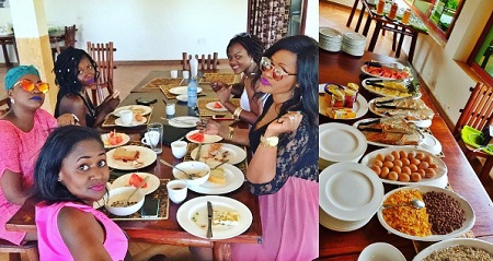 Irene Ntale having breakfast
