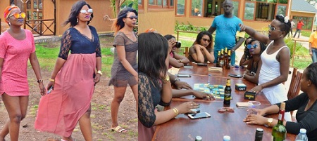 Irene Ntale and Anne Kansiime (white) at Nyange Resort