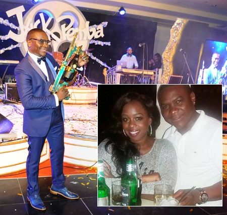Jack Pemba at his recent birthday in Munyonyo and inset is Angella Katatumba