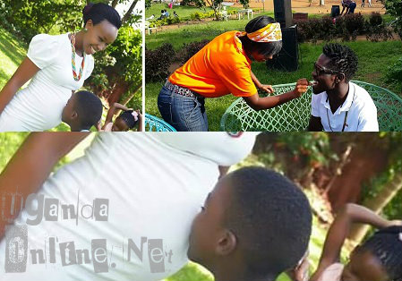 Bobi Wine's son, Solomon kissing the bump