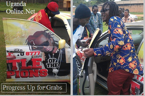 Bebe Cool and Weasel checking out that car that will be won on the day opf the Battle