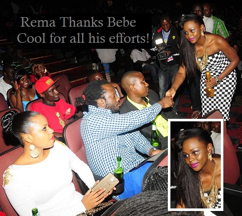 Zuena looking on as Rema thanks Bebe Cool
