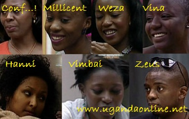Ghana's Confidence, Kenya's Millicent, Weza, Vina, Hanni, Vimbai and Zeus are all up for eviction