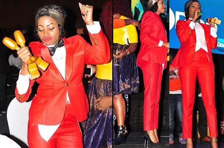 Sheebah Karungi in a red suit