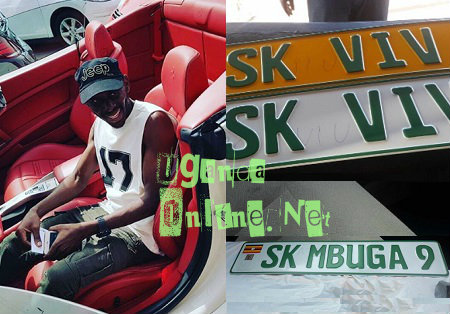 SK Mbuga in his Ferrari and inset are the reg plates